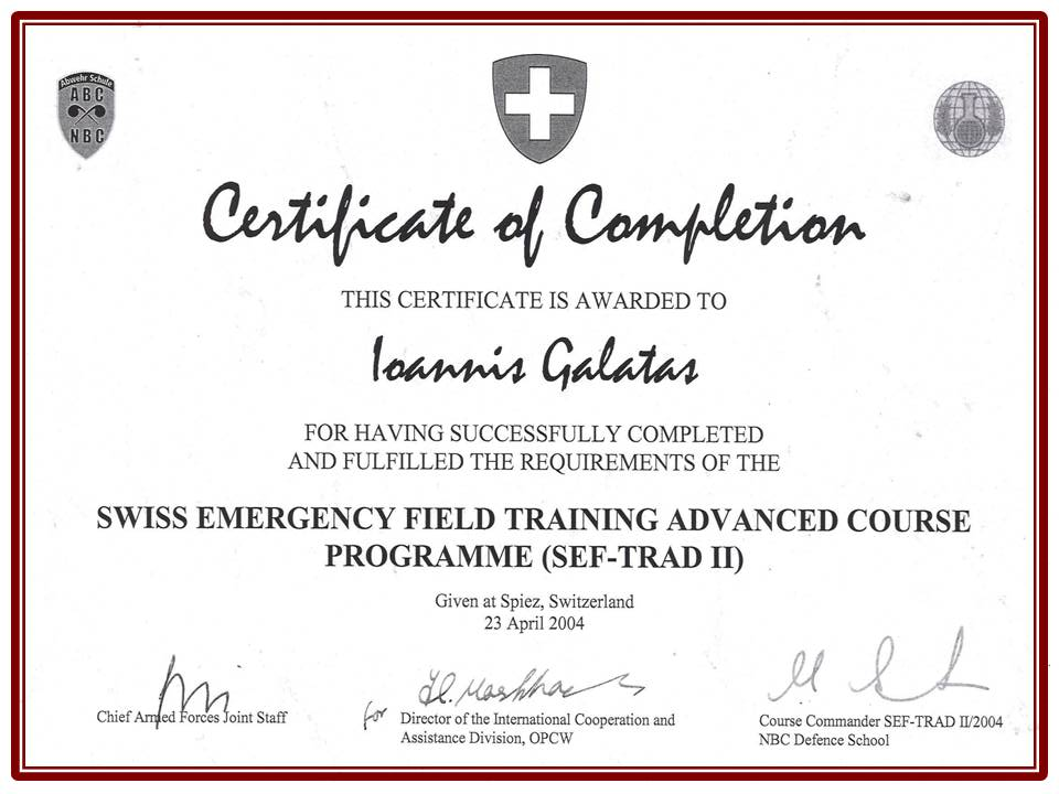 Allergy CBRNE Consultant – Certificate of Completion Training